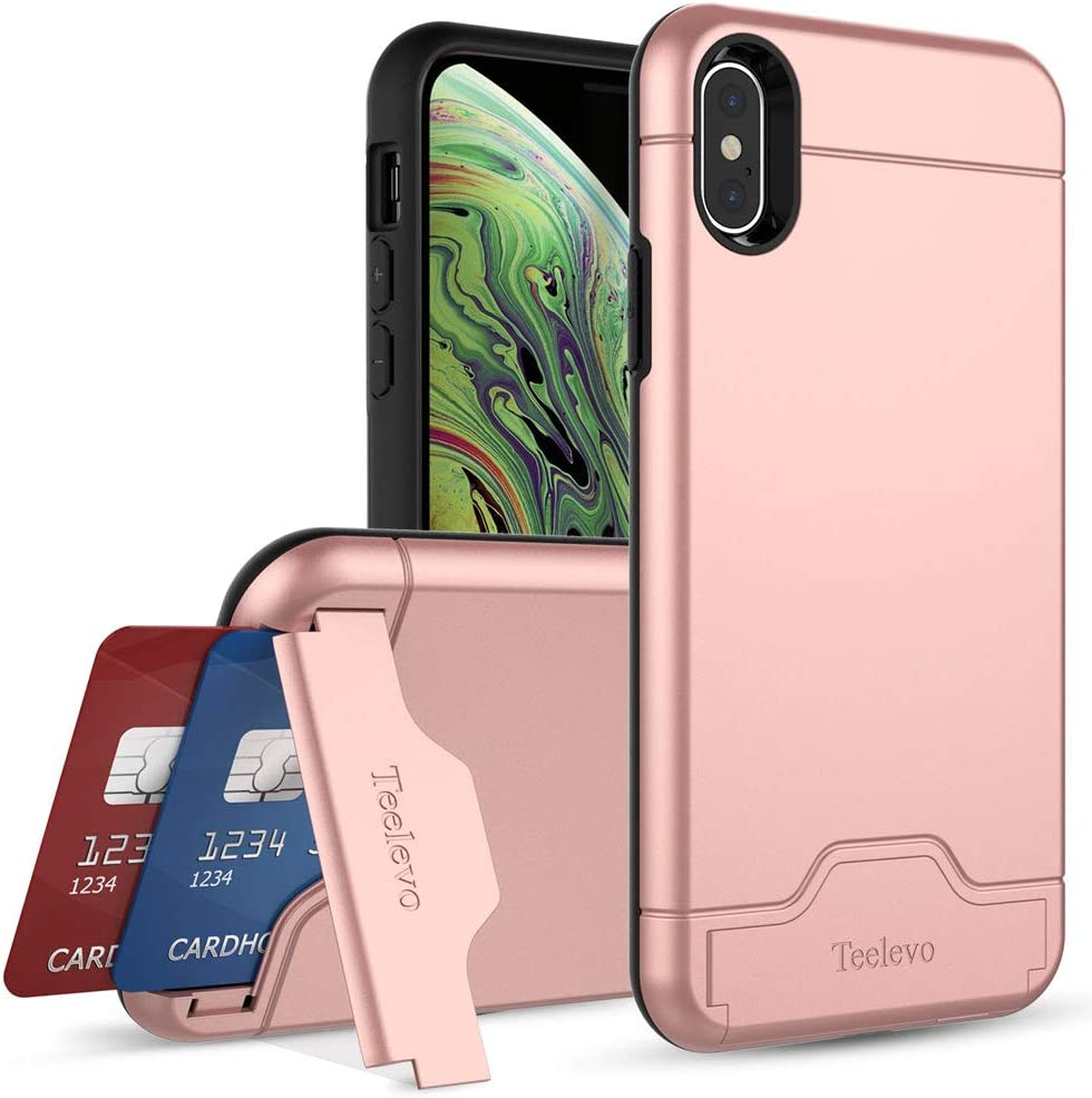 Teelevo Wallet Case for iPhone Xs/iPhone X, Dual-Layer Case with Hidden Card Storage for iPhone Xs/iPhone X, Rose Gold