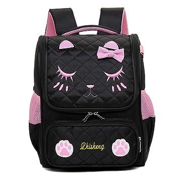 Westtreg Niños Mochilas escolares primaria gatos escuela mochila niñas mochila ortopédica mochila niños bolsa, grande negro: Amazon.es: Equipaje