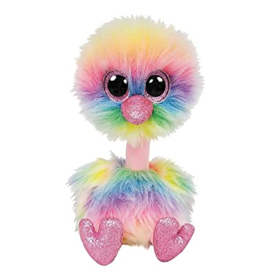 Ty Beanie Boos ASHA - Ostrich Rainbow med: Toys & Games