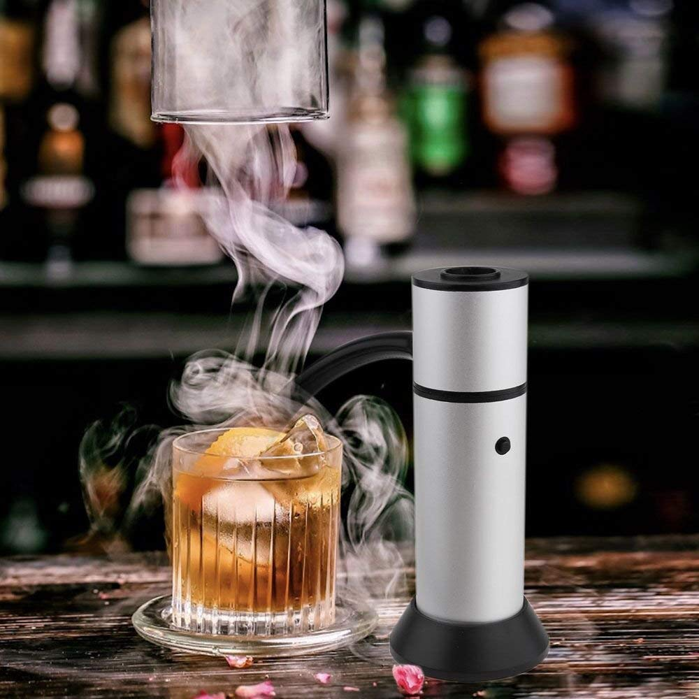 Portable Smoke Infuser, HUGGD Smoking Gun Food Smoker to Enhance Taste for Meat,Sous Vide, Grill, Bbq, Cocktail Drinks & Cheese. Uses Real Wood Chips (Silver) by HUGGD (Image #3)