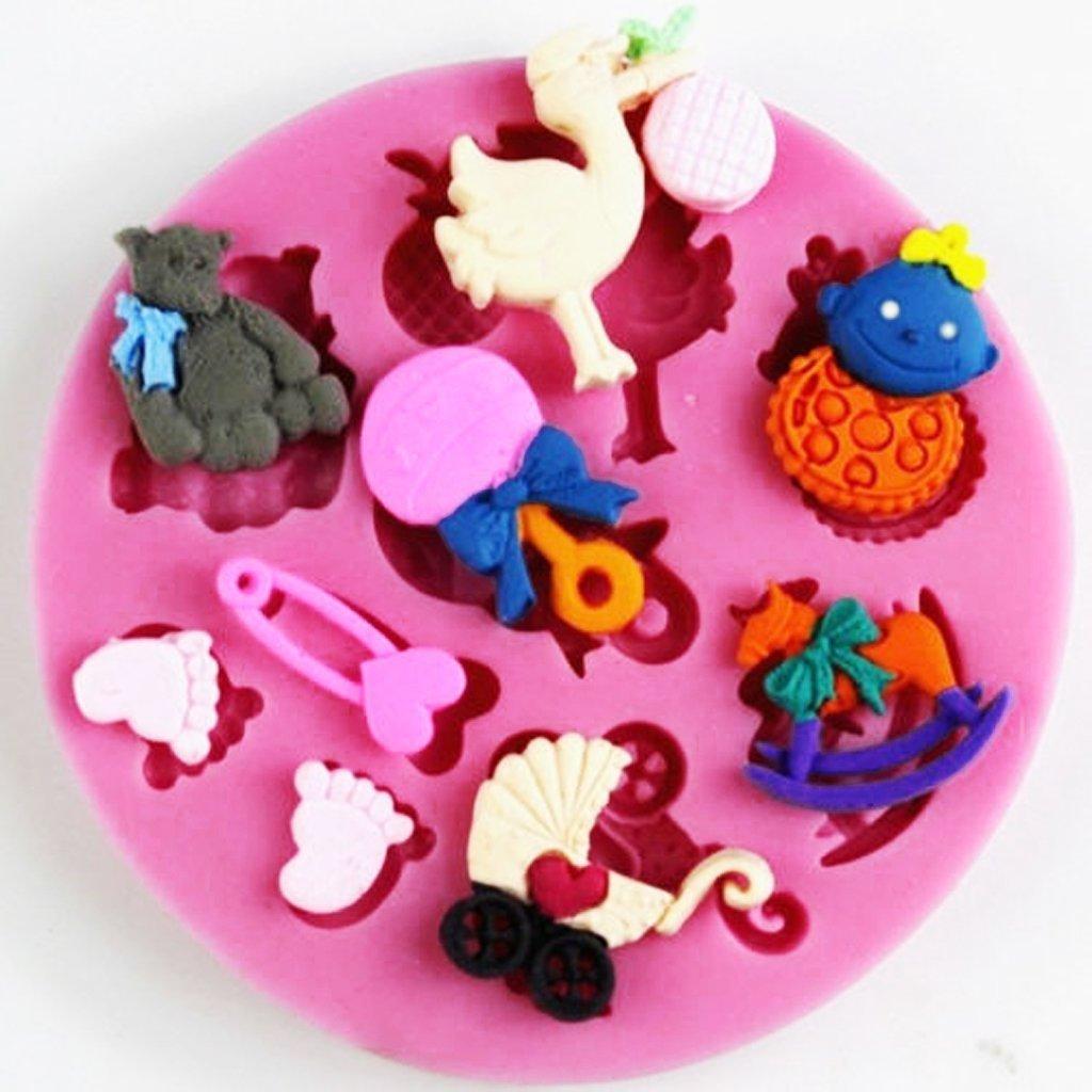ewfsef rosa Baby Shower tema Fondant Chocolate molde de silicona para decoración de pasteles: Amazon.es: Bricolaje y herramientas