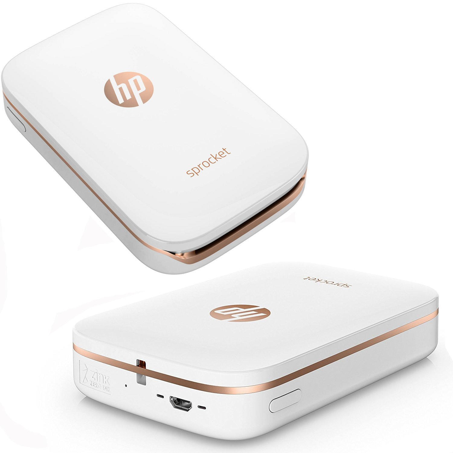 HP Sprocket Photo Printer, Print Social Media Photos on 2x3 Sticky-Backed Paper (White) + Photo Paper (60 Sheets) + Protective Case + USB Cable + ...
