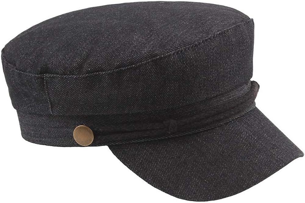 MUMUWU New Beret Cap Autumn Winter Womens Denim Mens Casual Navy Hat Fashion Classic Retro Copper Buckle Flat Top Cap