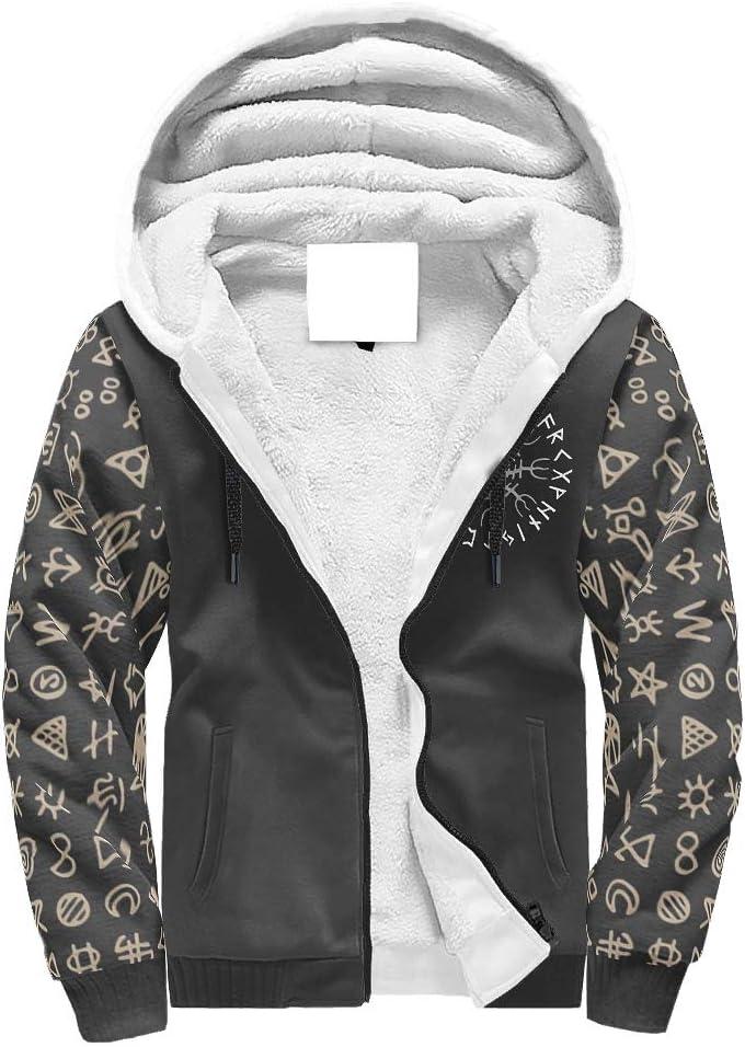 Jolyhui Mens Long Sleeve Full Zip Viking Crow FUTHARK Fashion Plus Velvet Hooded Sweater Winter Thicken Hoodie Jackets Coats S-3XL White s