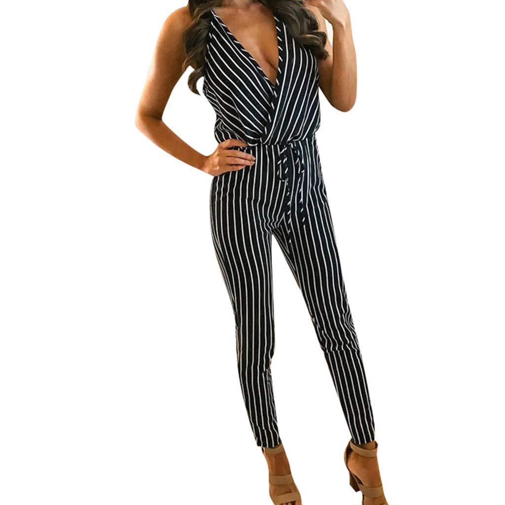 Psunrise Mono Womens Slim Bodysuits Print V-Neck Vertical Stripes Elastic Waist SleevelessTrousers Jumpsuit(L, Black) by Psunrise (Image #2)