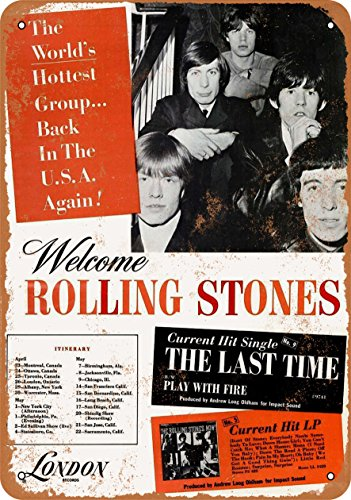 Wall-Color 9 x 12 Metal Sign - 1965 Rolling Stones US Tour - Vintage Look