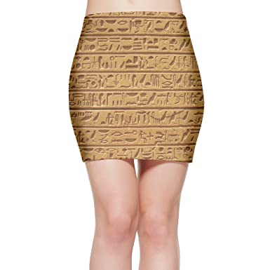 Porrytop Ancient Egyptian Hieroglyph Womens Fitted Mini Skirt Stretch Bodycon Pencil Skirt S