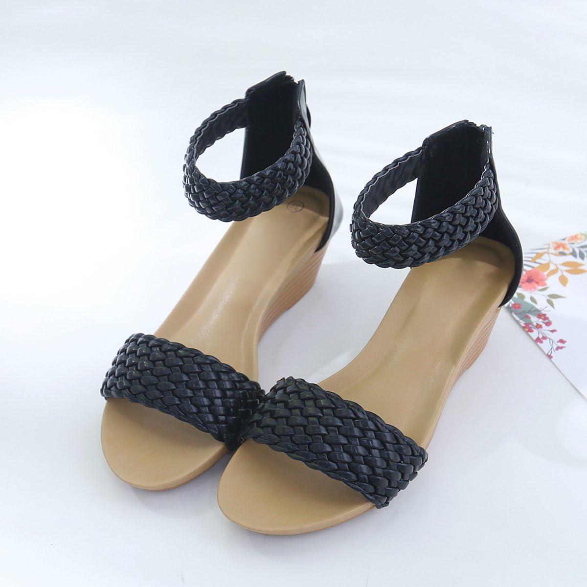 DeerYou Womens Wedges Sandals Casual Bohemia Summer Beach Ankel Strap Platform Heel Sandals