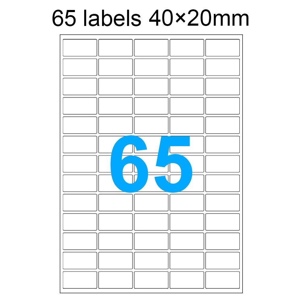 100 pezzi DASKOO 65 etichette (40 mm x 20 mm) A4 autoadesive per stampante laser, stampante a getto d'inchiostro stampante a getto d' inchiostro Taohui