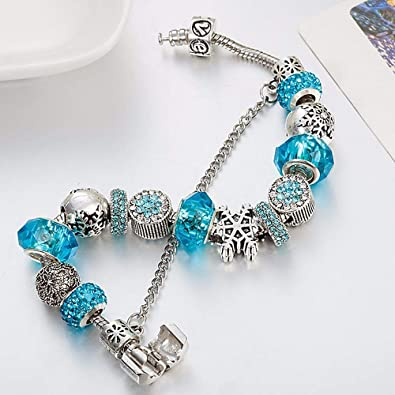 6fb35bf31302a Majesto Snow Snowflake Blue Beaded Charm Bracelet Women Teen Girls Murano  Crystal Beads Gift Snake Chain