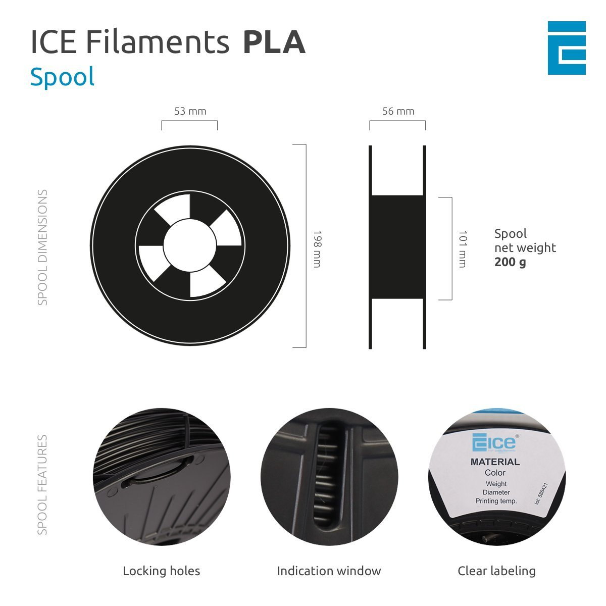 Wishful White 0.75 kg ICE Filaments ICEFIL3PLA131 PLA filamento 2.85mm