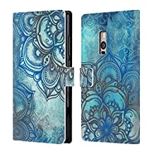 Official Micklyn Le Feuvre Lost In Blue A Daydream Made Visible Mandala 3 Leather Book Wallet Case Cover For BlackBerry Leap