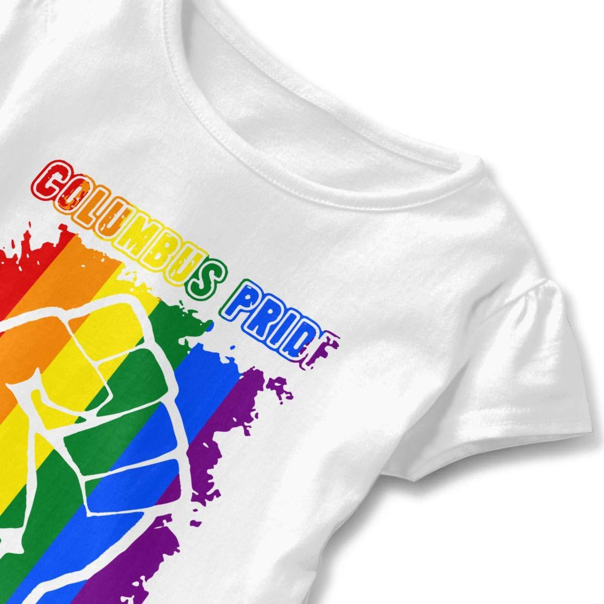 Columbus Pride LGBT Day Rainbow Flag Kids Children Round Collar Tee Tops