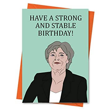 Funny Birthday Card Theresa May Political Prime Minister