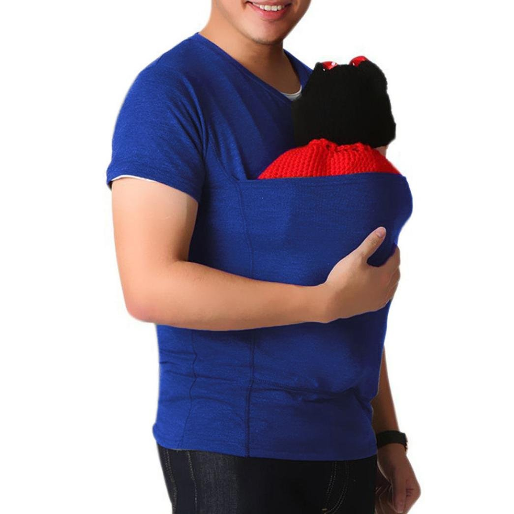 Men's Baby Carrier Sling Kangaroo Tees, Anxinke Casual Solid Short Sleeve Multifunction Dad T-Shirts