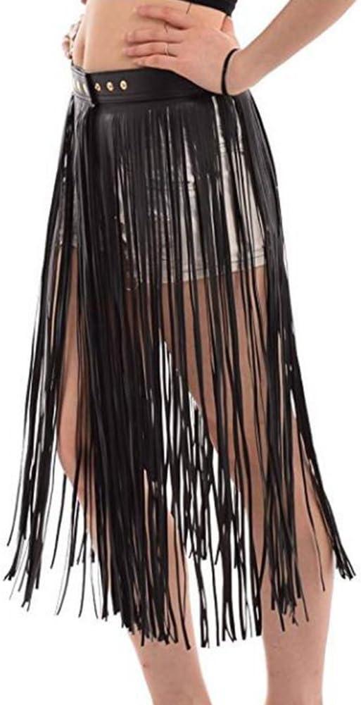 elegantstunning Falda de Borla de Flecos de Cuero de Imitación de Las Mujeres Con Cinturón de Cintura Ajustable Juego de Sexo Adulto Punk