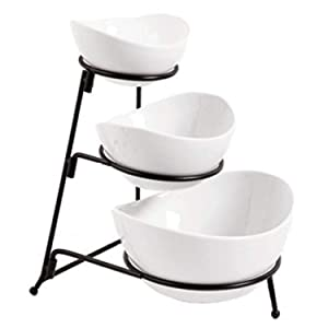 3 Tier Oval Bowl Set with Metal Rack, White Party Food Server Display Set - - Three Ceramic Bowl Serving - Dessert Appetizer Fruit Candy Chip Dip