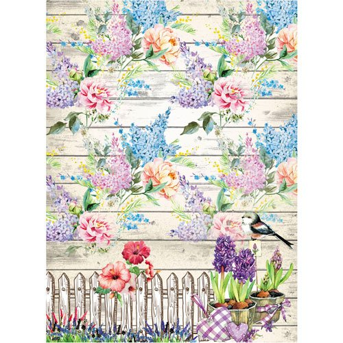 Made in Russia Garden: Pink Rice Paper for decoupage Purple and Blue Flowers ~ 11.1 x 15.11 inches