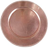 Tiger Chef Round Charger Plates Pink Beaded Dinner Chargers - 13-inch Rose Wedding Charger Plates (12 Pack)