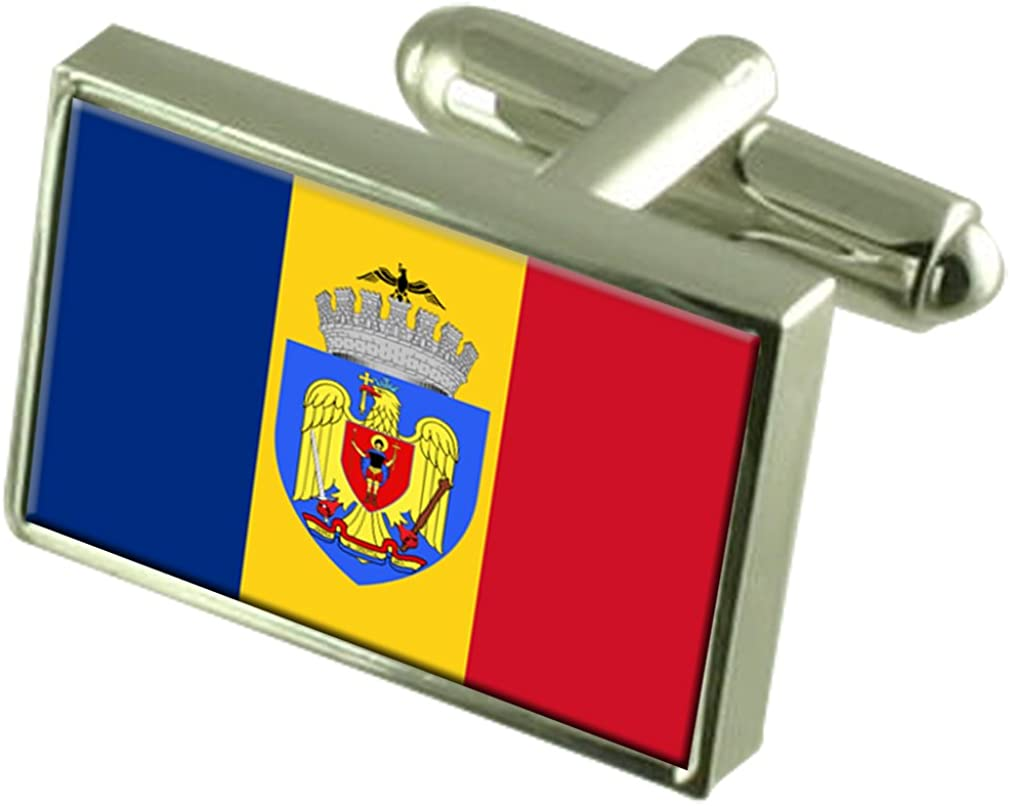 Select Gifts Bucharest City Romania Flag Cufflinks Engraved Box