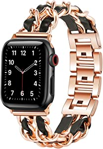 W17 Apple Watch Bands 38mm Women Series 3, Dressy Apple Watch Bands 40mm Series 6, SE, 40mm Series 5 Women, Series 4, Apple Watch Jewelry Bracelet, iWatch Bands Women, Chain Metal Bands with Leather, Rose Gold and Black