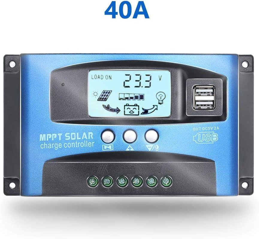 Fuhuihe 12V/24V MTTP Controlador de Carga Solar Panel Cargador de batería Inteligente regulador con Doble Puerto USB Pantalla LCD Sobrecorriente protección para el hogar, la Industria y el Comercio