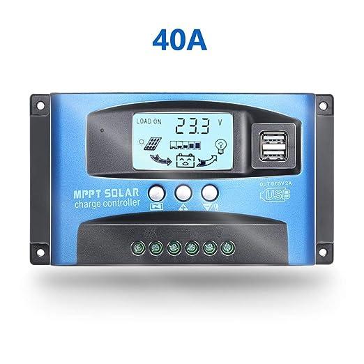 Fuhuihe 12V/24V MTTP Controlador de Carga Solar Panel Cargador de batería Inteligente regulador con Doble Puerto USB Pantalla LCD Sobrecorriente ...