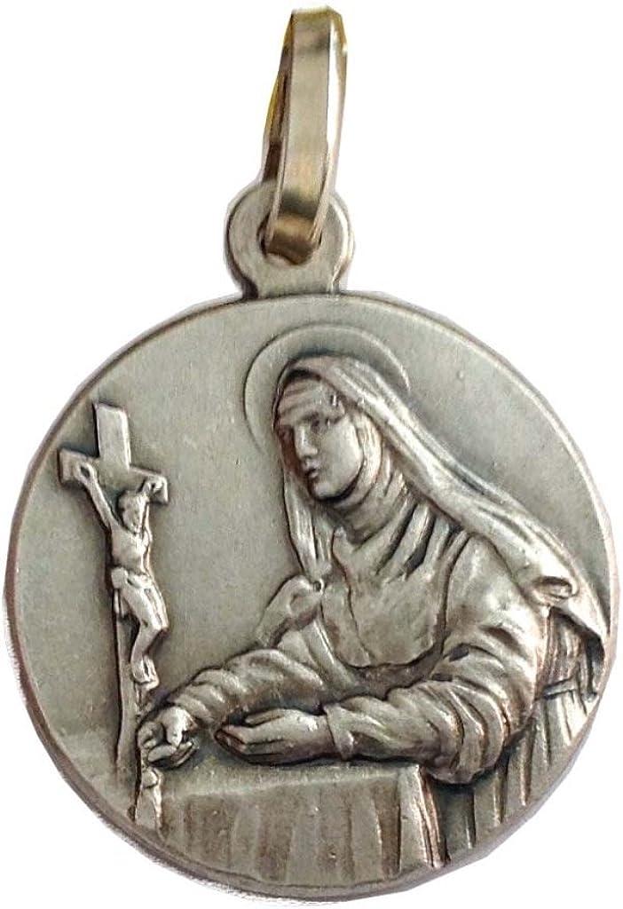 Medalla de Santa Rita de Casia de Plata Maciza 925 - Patrona De los Casos Imposibles: Amazon.es: Joyería