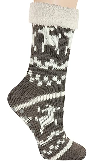 Capelli New York 7 Knit Slipper Socks With Reindeer Grey Combo One