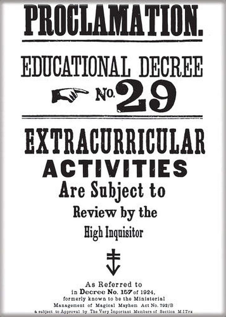 "Ata-Boy Harry Potter Educational Decree No. 29 2.5"" x 3.5"" Magnet for Refrigerators and Lockers"
