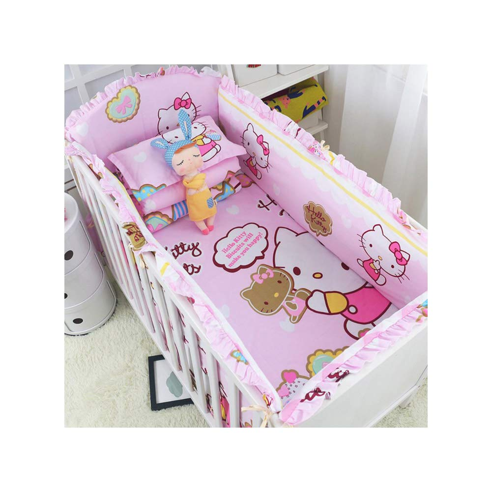 5pcs Cartoon Baby Bedding Set Cotton Crib Bedding Set Baby Bed Linens