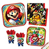 Super Mario Party Plates Napkins and Cups   Super Mario Party Supplies Bundle for Birthday or Any Party   Licensed   Serves 8 (Tableware)
