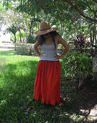 Mexican orange maxi long skirt by Italivii Shop