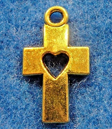- 10Pcs. Tibetan Antique Gold Cross/w Heart Charms Pendants Earring Drops CR114 Crafting Key Chain Bracelet Necklace Jewelry Accessories Pendants