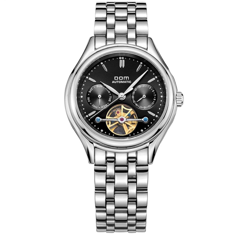 Sheli Herren Einzigartig Designer Schwarz Zifferblatt Skelett 21 Jewel Mechanische Uhrwerk Kalender Armbanduhr Uhr