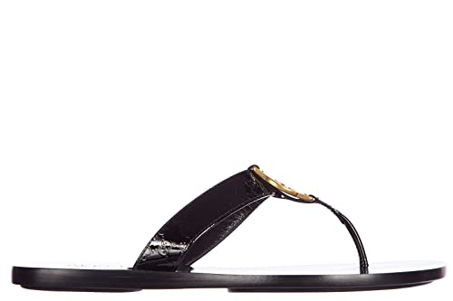 81d66536e Gucci Women s Leather flip Flops Sandals Crystall Patent Leather Micro gg  Black UK Size 2 344938