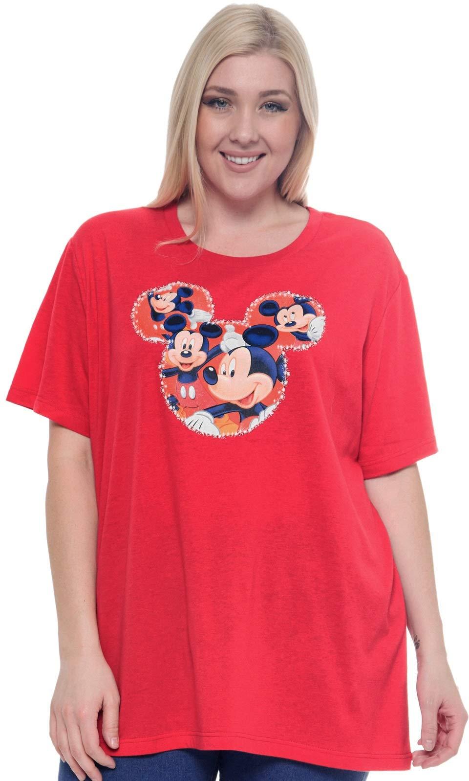Disney Plus Size Women's T-Shirt Mickey Mouse Icon Print (Red, 1X)