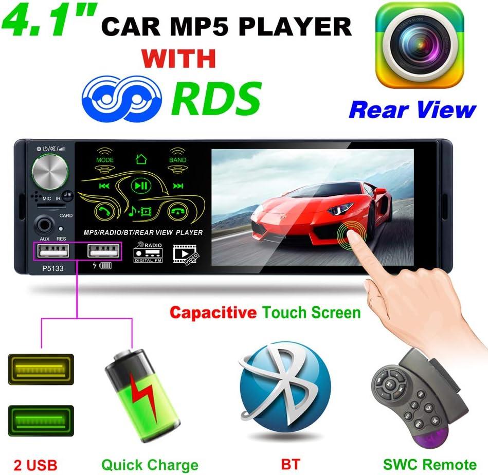 ATian 2019 Nuevo Autoradio Bluetooth con Pantalla táctil 1080P de 4.1 Pulgadas, Radio de Coche FM/Am/RDS Reproductor MP5/MP3 Compatible USB/TF/AUX Reproducción, Control del Volante y Control Remoto