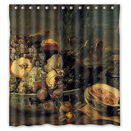 Finearts Width X Height / 72 X 72 Inches / W H 180 By 180 Cm Polyester Art Painting Frans Snijders - Still Life Christmas Shower Curtains Fabric Is Fit For Girls Wife Hotel Valentine Him. Mildew R