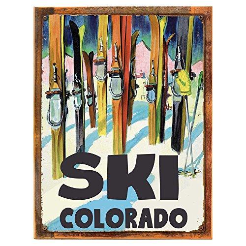 rado Metal Sign, Vintage Travel Postcard Highlighting Traditional American Destinations on reclaimed, rustic wood ()