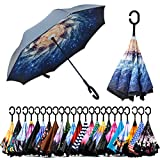 Spar. Saa Double Layer Inverted Umbrella with C-Shaped Handle, Anti-UV Waterproof Windproof Straight Umbrella for Car Rain Outdoor Use (Storm)