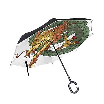 BENNIGIRY Dragon Paraguas Inverso Plegable Doble Capa, Protección UV Grande Recto Paraguas para Coche Lluvia
