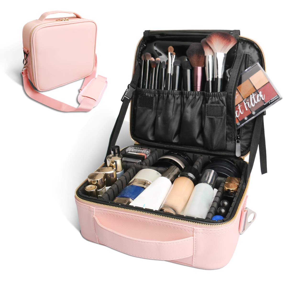 Bvser Travel Makeup Case, PU Leather Portable Organizer Makeup Train Case Makeup Bag Cosmetic Case with Shoulder Strap and Adjustable Dividers for Cosmetics Makeup Brushes Women (Pink) by Bvser