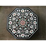 """23"""" Black Coffee Table Side Table End Table Patio Garden Table Sofa Table Octagon Shape Stones Inlaid Marble Table Top"""