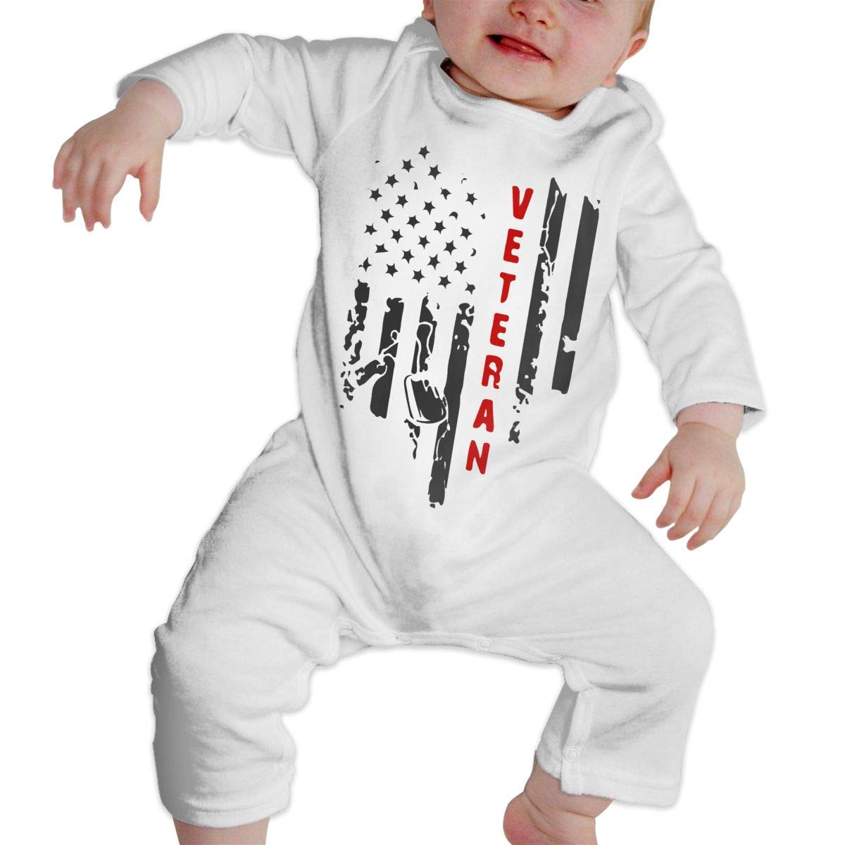 LBJQ8 US Flag Veteran1-1 Baby Boys Long Sleeve Romper Jumpsuit Bodysuit