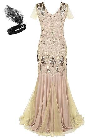 82ebb226da0a Women 1920s Gatsby Dress Long Prom Gown Beaded Sequin Mermaid Hem Ball  Evening Dress with Sleeve Headband Free GA80: Amazon.co.uk: Clothing