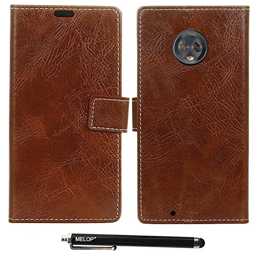Melop Motorola Moto G6 Case, Retro PU Leather Wallet Magnet Flip Case Cover with Credit ID Cards Slots Cash Pouch Kickstand Design for Motorola MotoG6 2018 - Brown (Retro Id Credit Card)