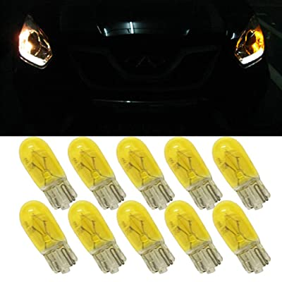Yellow T10 W5W Halogen bulb - T10 Halogen Car Yellow Lamps 168 194 w5w Turn Side License Plate Light Car Parking Dome Reading Interior Lamp (10PCS): Automotive