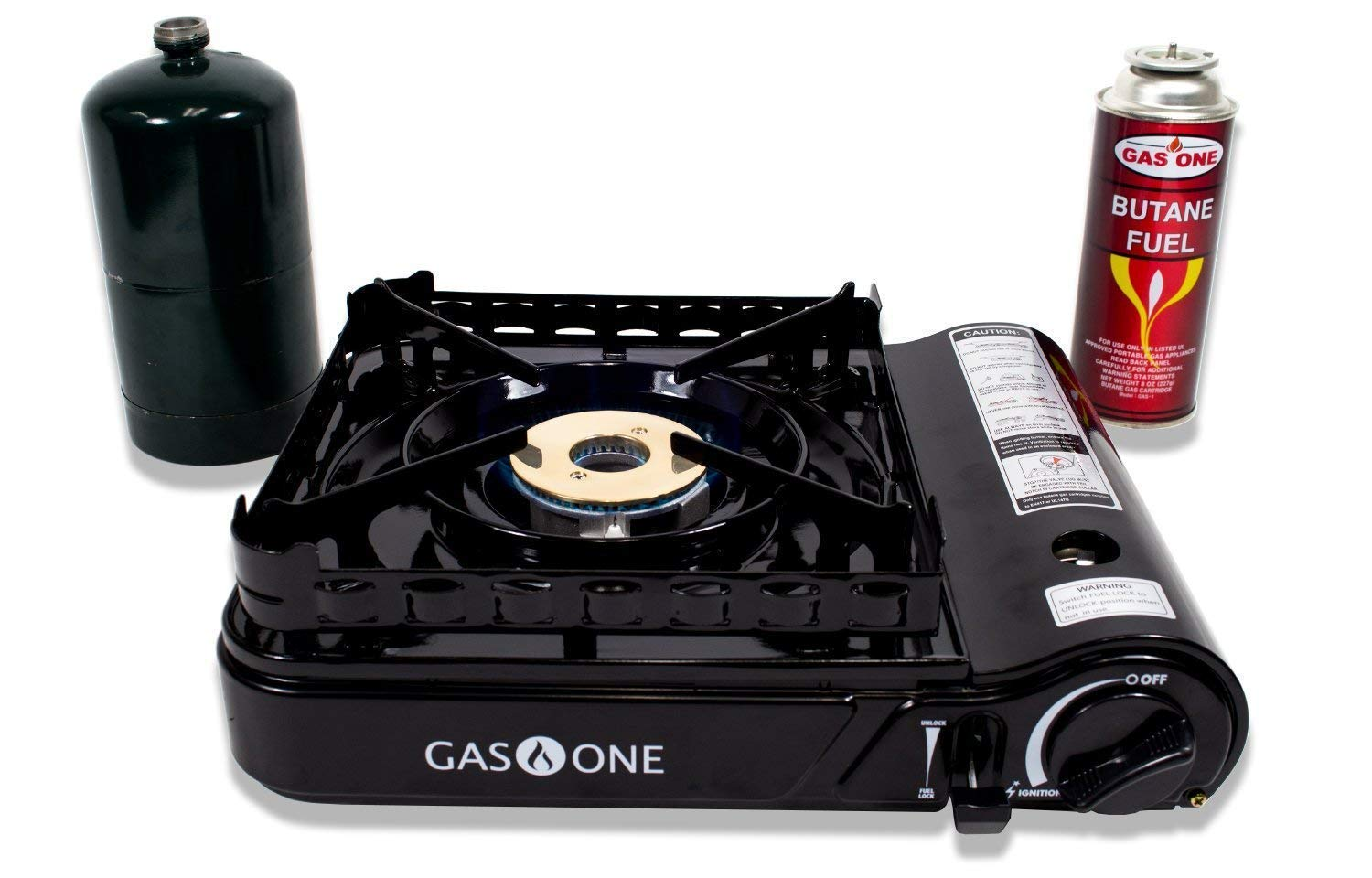 Gas ONE GS-3900P Dual Fuel Propane Or Butane Portable Stove with Brass Burner Head, Dual Spiral Flame 15,000 Btu Gas Stove with Convenient Carrying Case Latest 2017 Model product image