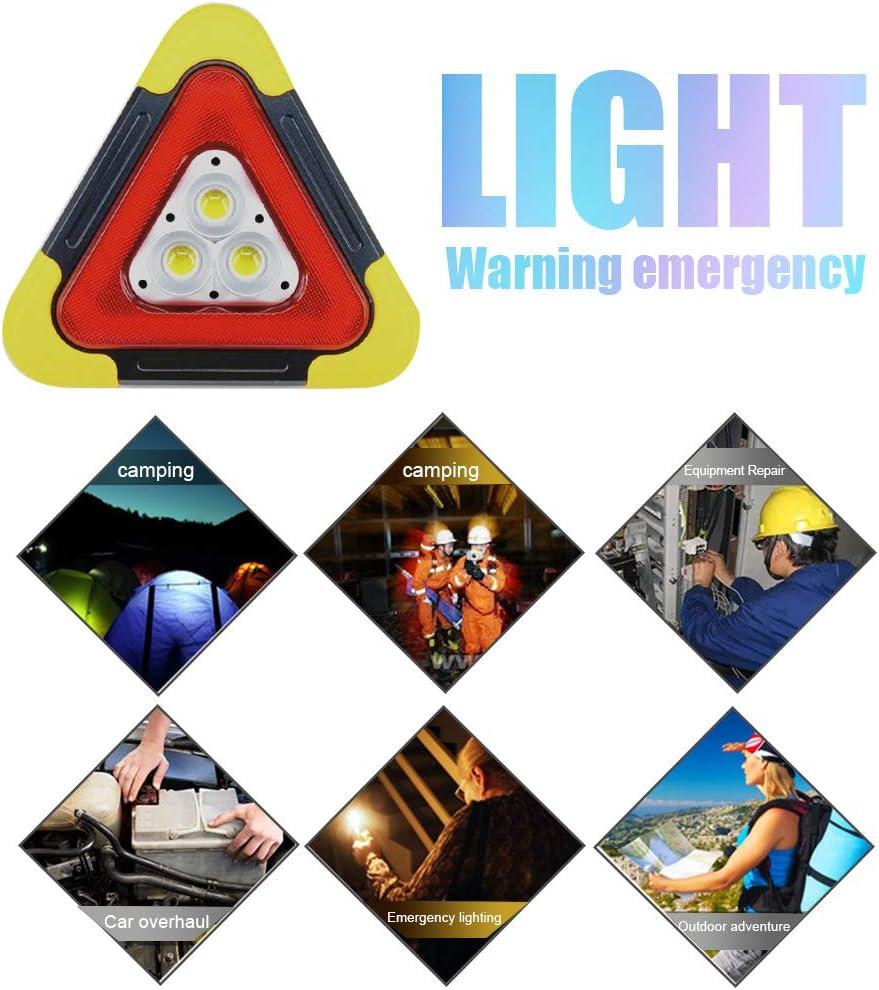 ETIGER Car Hazard Warning Light Triangle Flashing LED COB Work Road Emergency Lamp Spotlight 4 Modes USB Rechargeable for Road Emergency